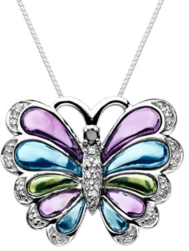 1/10 CT. T.W. Enhanced Black and White Diamond Butterfly Pendant in Sterling Silver with Multi-Color Enamel