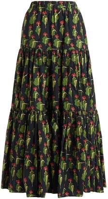 LA DOUBLE J Tiered printed-cotton skirt