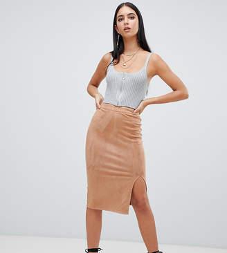 Missguided faux suede split leg midi skirt in camel