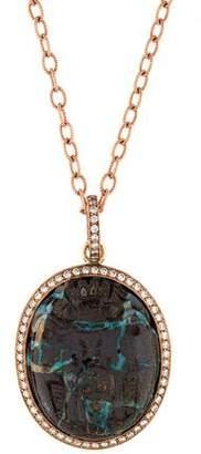Sylva + Cie 14K Carved Boulder Opal & Diamond Scarab Pendant Necklace