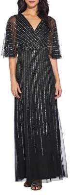 Adrianna Papell Beaded Flutter Sleeve Gown