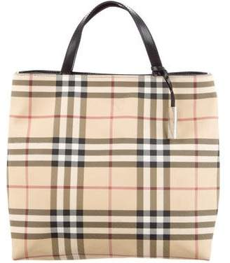 Burberry Leather-Trimmed Nova Check Tote