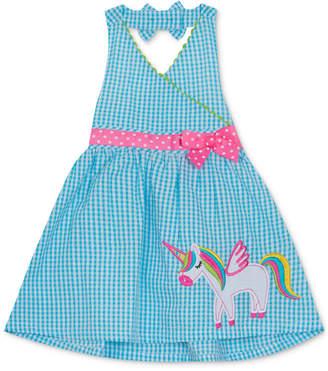 Rare Editions Baby Girls Unicorn Gingham Seersucker Dress