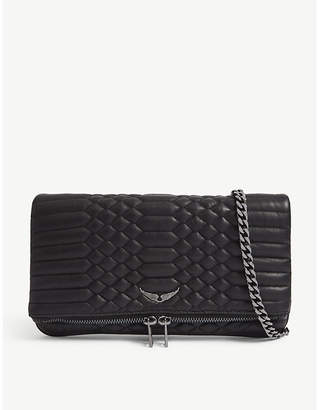 Zadig & Voltaire Noir Black Rock Quilted Leather Clutch Bag