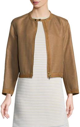 Lafayette 148 New York Makena Suede-Trim Raffia Weave Jacket