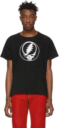 R 13 Black Grateful Dead Steal Your Face Distressed T-Shirt