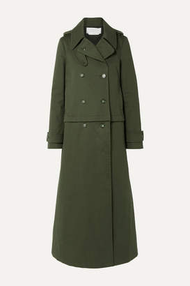 Gabriela Hearst Gusev Convertible Brushed Cotton-canvas Trench Coat - Army green