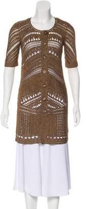 Diane von Furstenberg Metallic Open Knit Cardigan