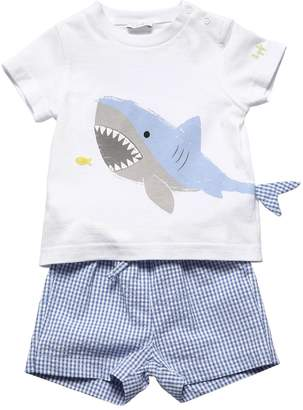 Il Gufo Shark Cotton T-Shirt & Seersucker Shorts