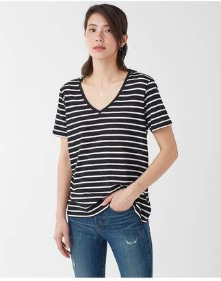 Splendid Linen Stripe V Neck Tee