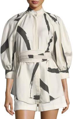 Zimmermann Painted-Heart Button-Front Silk Shirt