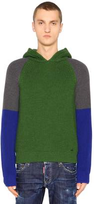 DSQUARED2 Hooded Color Block Wool Rib Knit Sweater