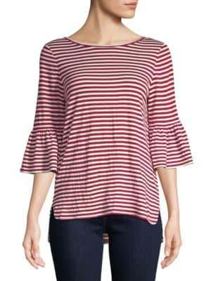 Max Studio Flare-Sleeve Striped Top