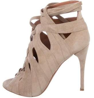 Alaia Suede Lace-Up Sandals