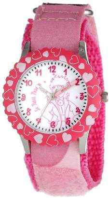 EWatchFactory Little Prince Kids' W000814 Stainless Steel Time Teacher Pink Hearts Bezel Pink Velcro Strap Watch