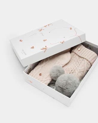 Ted Baker RAISA Knitted wool pom pom hat and socks set