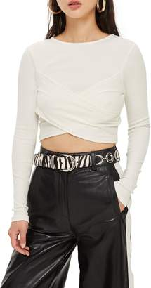 Topshop Wrap Rib Crop Top