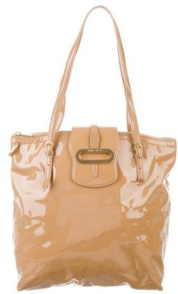 Jimmy Choo Jimmy Choo Tan Patent Leather Shoulder Bag