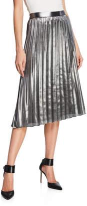Nicole Miller New York Silver-Shine Pleated Midi Skirt