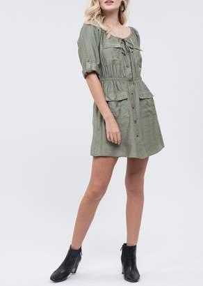 Blu Pepper 3/4 Sleeve Front Pocket Dress