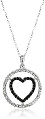 """Swarovski Sterling Silver and White Cutout Heart Pendant Necklace Made with Crystal (18"""")"""