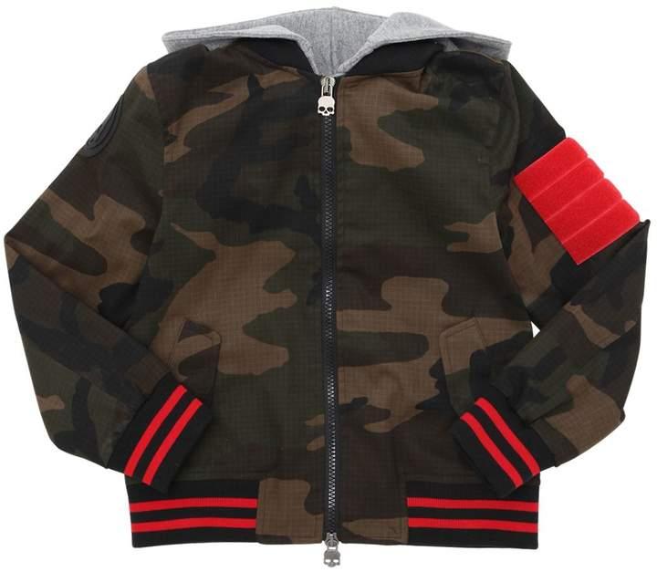 Hydrogen Kid Hooded Camo Gabardine Bomber Jacket