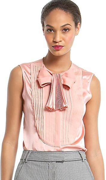 Zac Posen Soleil Silk Blouse with Bow