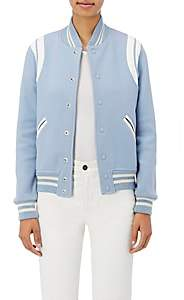 Saint Laurent Women's Leather-Inset Varsity Jacket - Lt. Blue
