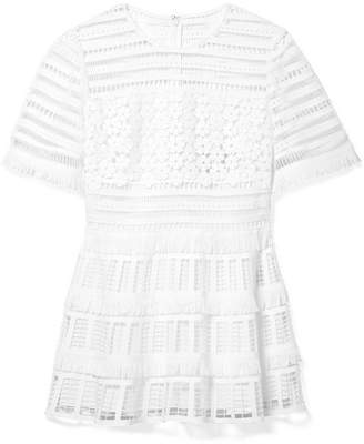 Lela Rose Fringed Crocheted Lace Peplum Top - White