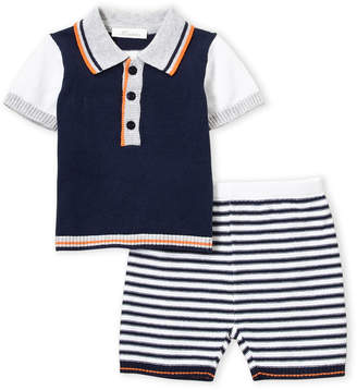 Baby Essentials Miniclasix (Newborn Boys) Two-Piece Color Block Knit Polo & Stripe Pants Set