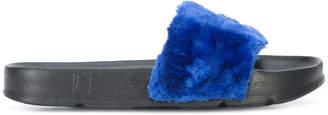 Baja East Fila edition faux fur slides