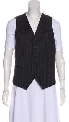 AllSaints Striped Button-Up Vest