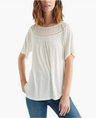 Lucky Brand Mixed-Knit Woven Top