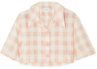 Alice McCall Pink Moon Cropped Gingham Cotton-blend Shirt