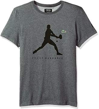 Lacoste Men's Short Sleeve Jersey Extensible with Novak Print T-Shirt