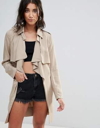Glamorous Tie Front Waterfall Trench Coat