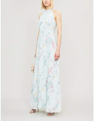Ted Baker Floral-print and lace crepe maxi dress