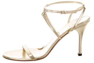 Gucci GG Metallic Leather Sandals