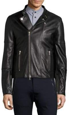 Diesel Black Gold Long Sleeve Leather Moto Jacket