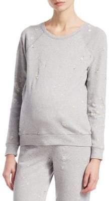 David Lerner Maternity Distressed Raglan Pullover