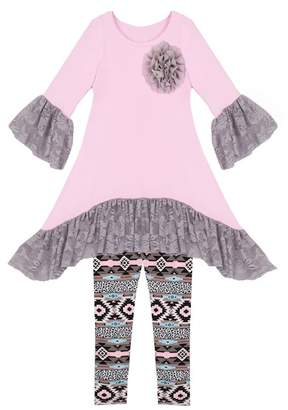 Mia Belle Girls Ruffled Lace Sleeve Tunic & Geometric Printed Leggings Set (Toddler, Little Girls, & Big Girls)