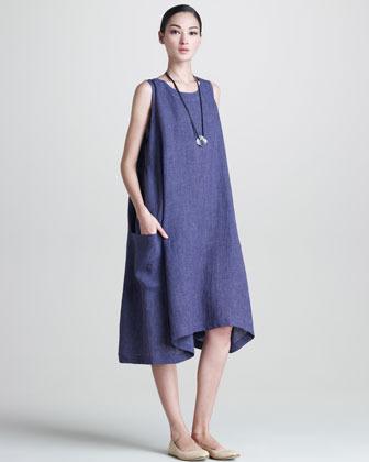 eskandar Side-Pleated Trapeze Dress