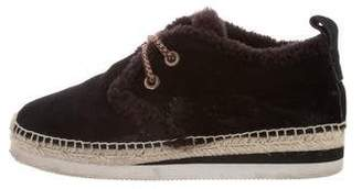 See by Chloe Glyn Shearling-Trim Suede Sneakers