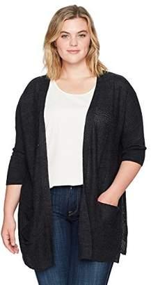 Democracy Women's Plus Size L/s Lace Up Open Back Front Cardigan