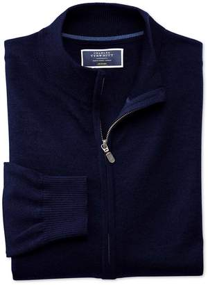 Navy Merino Wool Zip Through Cardigan Size Large by Charles Tyrwhitt