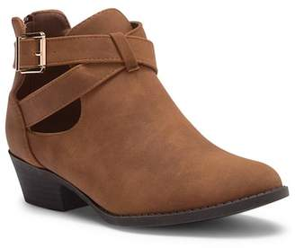 Top Moda Ankle Wrap Low Heel Bootie