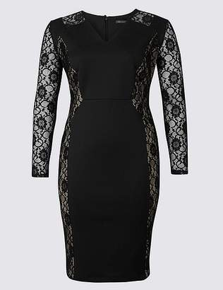 Marks and Spencer CURVE Lace Long Sleeve Bodycon Midi Dress