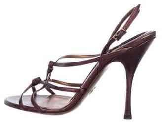 Dolce & Gabbana Metallic Leather Strap Sandals