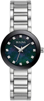 Bulova Womens Silver Tone Black Mother Of PearlDial Diamonds Collection Bracelet Watch 96P172 $224.25 thestylecure.com