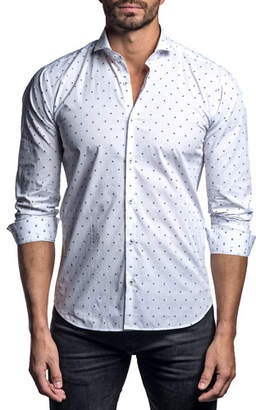 Jared Lang Men's Polka-Dot Sport Shirt